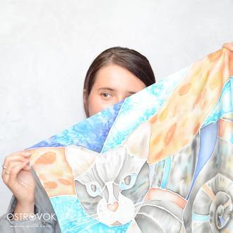 """Шелковый платок с ручной росписью """"Волшебная кошка """" подарок девушке, женщине,подруге, коллеге"""