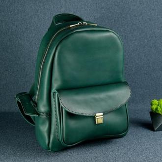 """Женский кожаный рюкзак """"Стамбул"""", кожа итальянский краст, цвет зеленый"""