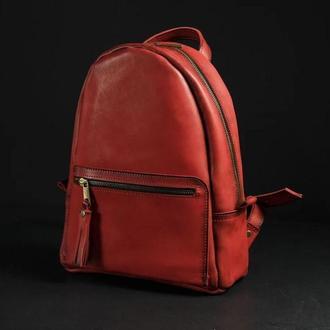 """Женский кожаный рюкзак """"Лимбо"""", размер мини, кожа итальянский краст, цвет красный"""