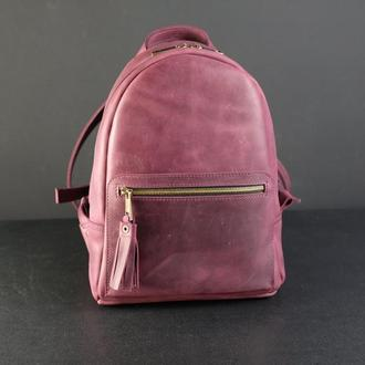 """Женский кожаный рюкзак """"Лимбо"""", размер мини, винтажная кожа, цвет бордо"""