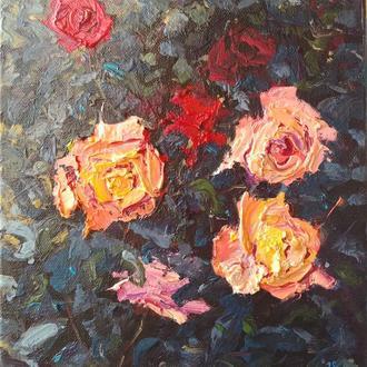 """Авторская картина маслом """"Осенние розы"""". 30х24. Холст на подрамнике"""