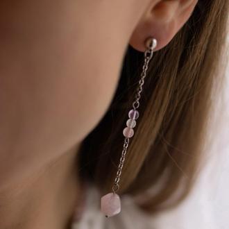 Длинные сережки с розовым кварцем, аметистом и лунным камнем