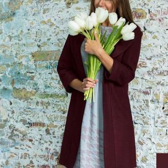 Пальто кашемировое ′Марсала′
