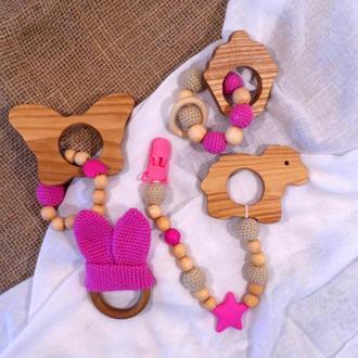 Набір 4 іграшки для малюка -Слінго намиста / Брязкальце / Гризунок / Прорізувач.