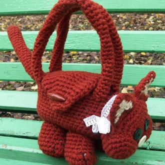Вязаная сумка игрушка Котик