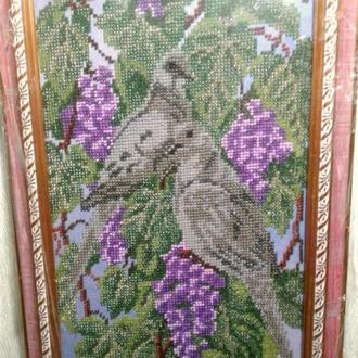Вышитая картина бисером Дикие голуби