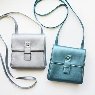 "Блестящая сумочка через плечо ""Ponika"", серебристая сумка металлик"