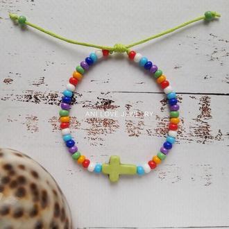 разноцветный браслет из бисера крест крестик браслет с крестиком