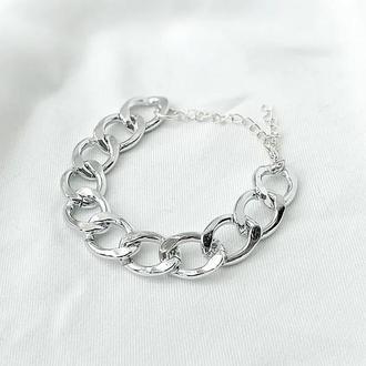 Серебряный браслет, не темнеет с большими звеньями. Подарок. Бесплатная доставка и упаковка