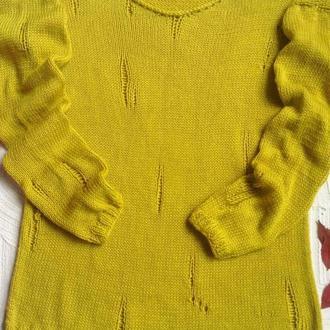 свитер спицами с рваным эфектом