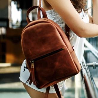 """Женский кожаный рюкзак """"Лимбо"""", размер средний, винтажная кожа, цвет коньяк"""