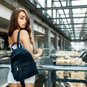 """Женский кожаный рюкзак """"Лимбо"""", размер средний, винтажная кожа, цвет синий"""