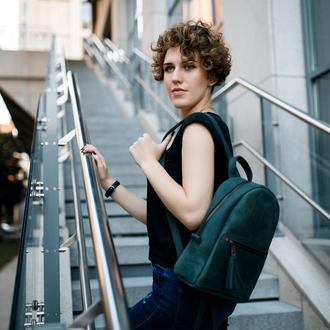"""Женский кожаный рюкзак """"Лимбо"""", размер средний, винтажная кожа, цвет зеленый"""