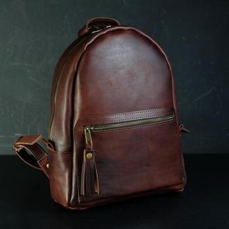 """Жіночий шкіряний рюкзак """"Лімбо"""", розмір середній італійський краст колір  вишня"""
