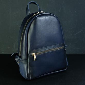 """Женский кожаный рюкзак """"Лимбо"""", размер средний, кожа итальянский краст, цвет синий"""