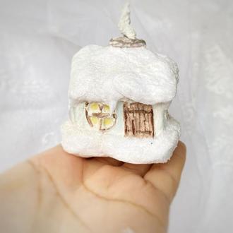 Ватная игрушка домик