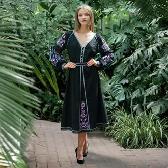 Вишиванка. Авторська вишиванка. Сукня з вишивкою міді. Вишита сукня МАЛЬВА