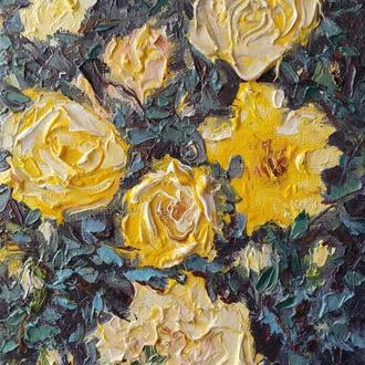 """Авторська картина маслом """"Жовті троянди"""". 30х20. Полотно на підрамнику"""