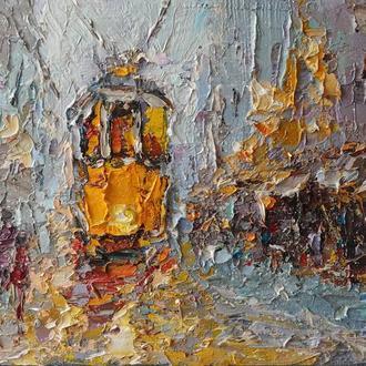 """Авторская картина маслом """"Трамвайчик"""". 20х30. Холст на подрамнике"""