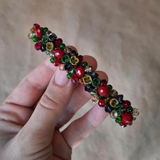 Бордово зелена шпилька для волосся з квітами, прикраси для волосся, подарунок дівчині