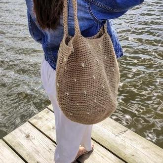 Пляжная сумка. Соломенная сумка. Сумка шоппер.
