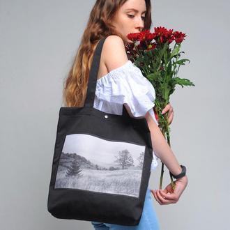 Черный арт шоппер с фото принтом горы Карпаты ч/б, эко сумка с карманом, сумка для покупок, торба
