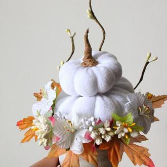 """Осенняя композиция """"Нежность осени"""". Зефирные белые тыквы. Осенний декор"""