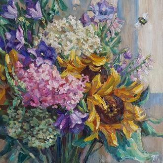 Яскрава картина маслом квіти букет