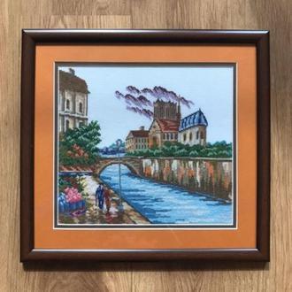 """Картина вишита хрестиком  """"Прогулянка містом у річки"""""""