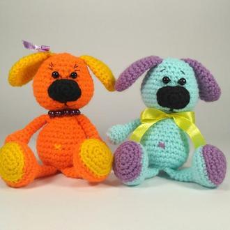 Собачка Милашка, вязаная крючком, амигуруми, мягкая игрушка, handmade, ПОДАРОК, символ Нового Года