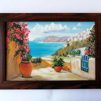 Картина маслом Итальянский пейзаж, Картина Италия, Красивая картина, Авторская живопись