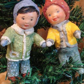 Ватные елочные игрушки Дети