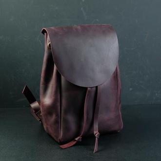 Жіночий шкіряний рюкзак на затягуваннях з вільним клапаном, вінтажна шкіра, колір бордо
