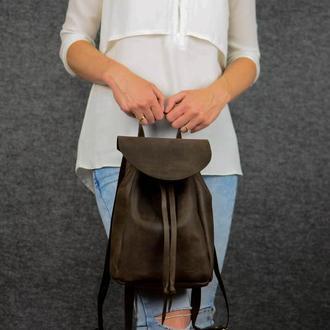 Женский кожаный рюкзак на затяжках с свободным клапаном, винтажная кожа, цвет шоколад