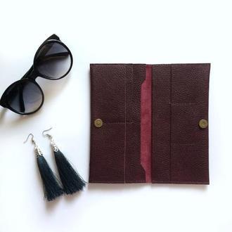 Кожаное портмоне цвета бургунди,компактный тревел кейс,кошелек униескс