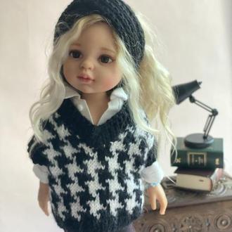 Комплект одежды для куклы Паола Рейна 32 см, Вязаный жилет гусиная лапка для Paola Reina