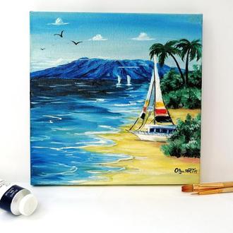 Картина маслом Яхта на піску, Тропічний пляж, Літній пейзаж, Картина на підрамнику