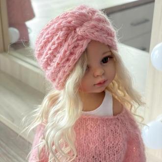 Вязаная повязка на голову для куклы Паола Рейна 32 см, Одежда для Paola Reina