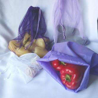 Набір екоторбинок 4 шт + чохол, еко мішечки для овочів, еко торбинки