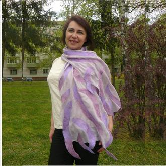 Оригинальный валяный шарф палантин из шерсти в романтическом стиле