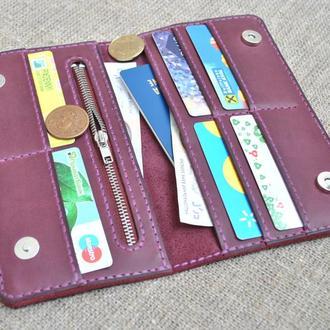 Элегантный кошелек на кнопках из натуральной кожи K27m-800