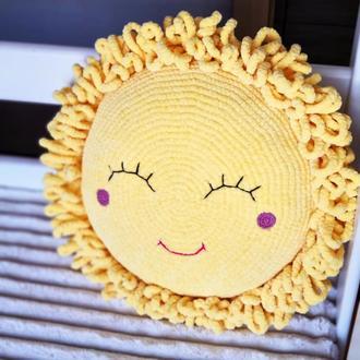 Мастер-класс вязаная подушка. Схема вязания. Амигуруми. Описание вязания подушки солнца