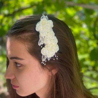 Заколка гребень для волос,украшение в прическу,свадебная заколка,гребень с цветами