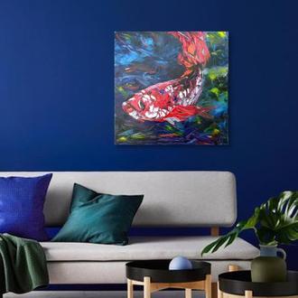 Красная рыба в синем море современная живопись