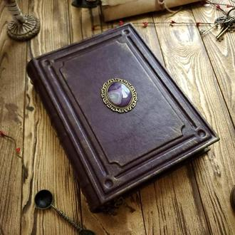 Шкіряна книга з каменем. Блокнот з натуральним каменем