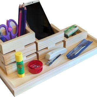 Органайзер для канцтоваров на стол деревянный. Подставка для ручек