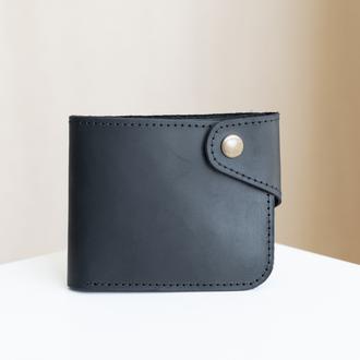 Вместительный кошелек ручной работы арт. 101 черного цвета из натуральной винтажной кожи