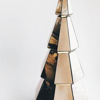Зеркальная ёлка - полигональная фигура из пластика, новогодний декор