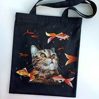 Экосумка, шоппер кот и рыбки роспись