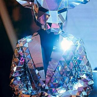 Зеркальная полигональная маска быка на всю голову из пластика